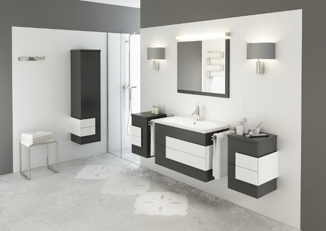 Meble łazienkowe podwieszane NexGrafit i biel to na razie jedyne zestawienie kolorystyczne szafek łazienkowych z kolekcji NEX. Jenak w drugim kwartale 2013 roku planowane jest wprowadzenie również innych kolorów.