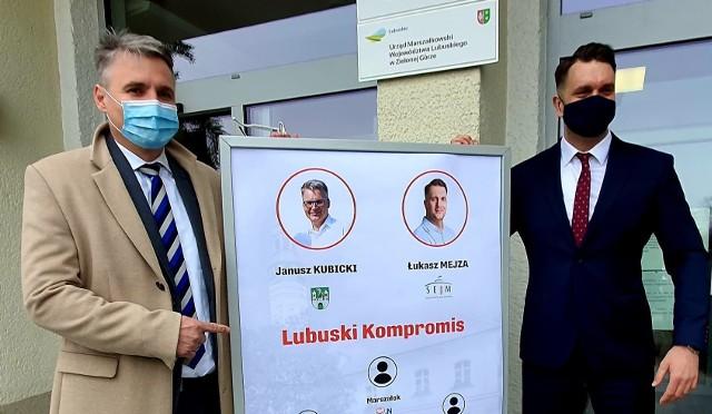 Prezydent Janusz Kubicki i poseł Łukasz Mejza
