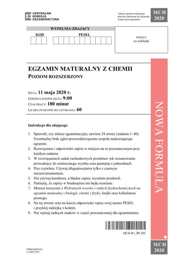 Matura CHEMIA 2020: odpowiedzi z UJ, rozwiązania, arkusz CKE