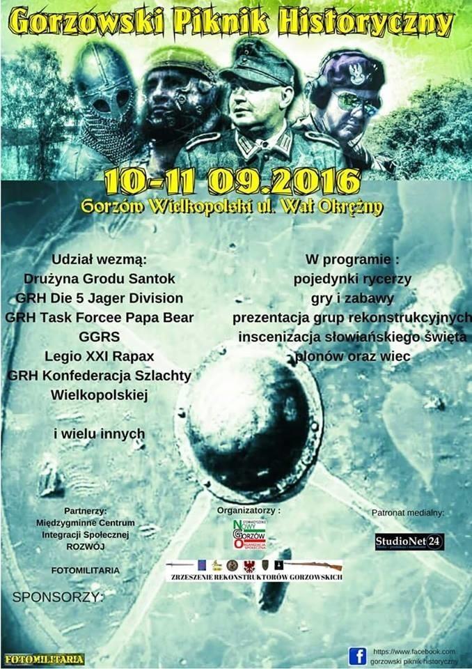 W weekend 10 - 11 września na nadwarciańskim placu przy ul. Wał Okrężny w Gorzowie Wlkp. odbędzie się Gorzowski Piknik Historyczny.