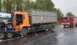 Wypadek ciężarówek na autostradzie A4 w Mysłowicach zablokował przejazd. Kierowca nie rejestrował godzin jazdy, kłopot był też z ładunkiem