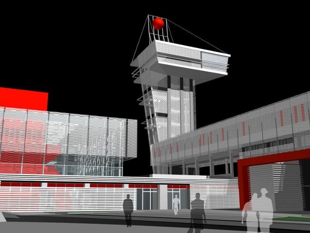 Tak na wizualizacji Biura Studiów i Projektów Barbary i Piotra Średniawy z Gliwic będzie wyglądać futurystyczna wieża przy centrum konferencyjnym targów Kielce