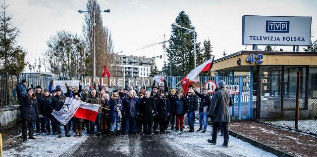 Protest pod TVP w Gdańsku.