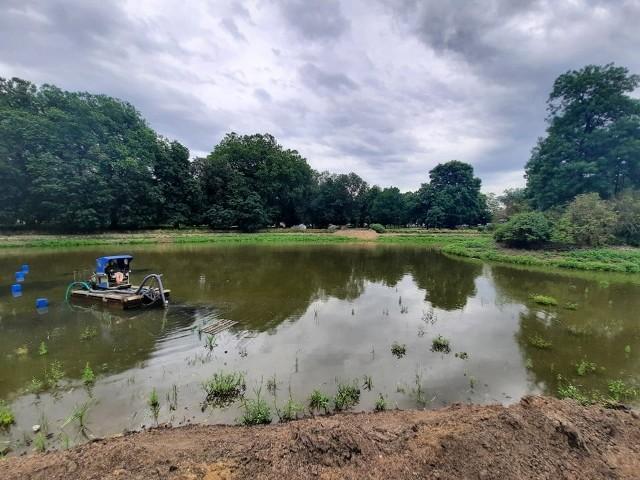 Rewitalizacja Park Róż kosztuje 6 mln zł. Odmulanie stawu jest jednym z jej elementów.