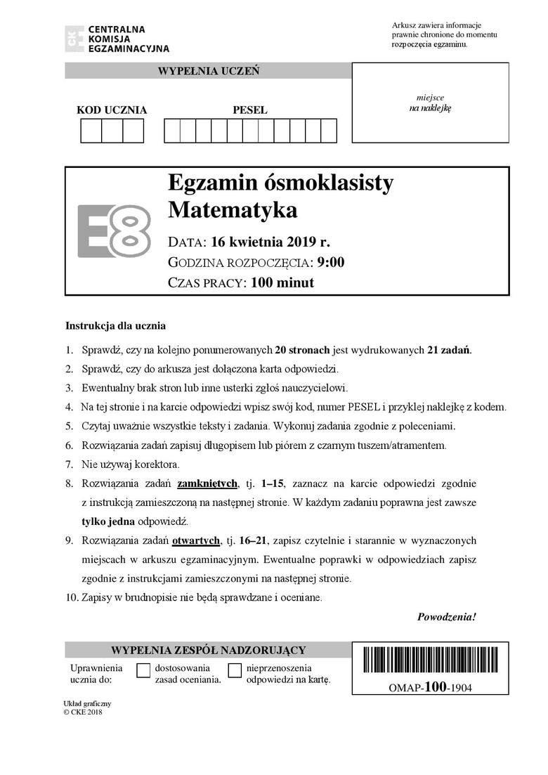 Egzamin ósmoklasisty 2019 Matematyka Odpowiedzi Arkusze