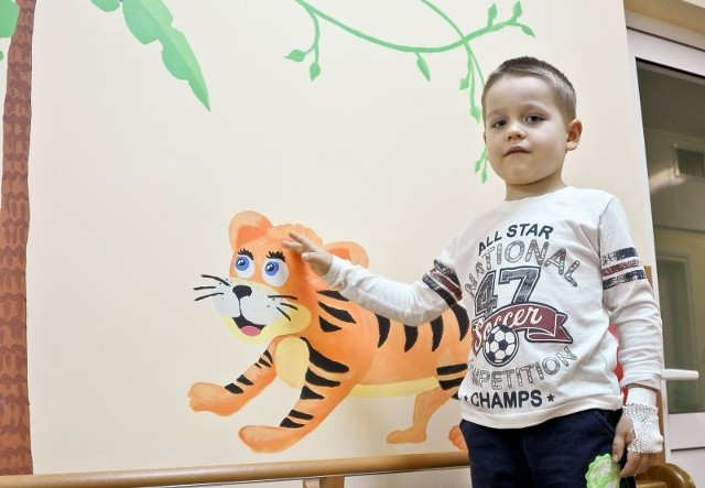 Najbardziej podoba mi się namalowany na ścianie krokodyl - mówi mały pacjent kliniki, 5-letni Artur Szubert.  - Ale tygrys też może być.