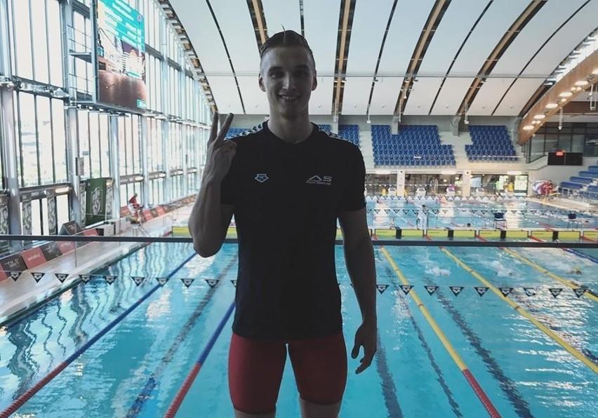 Jan Kałusowski (Trójka Łódź) na basenie Aqua w Lublinie po pobiciu nowego rekordu Polski