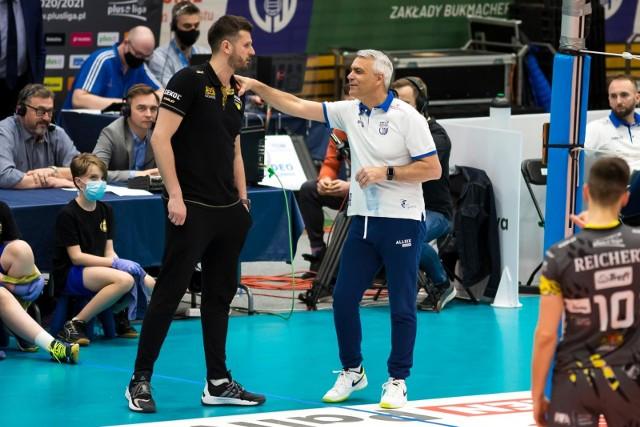 Michał Winiarski i Andrea Anastasi w trakcie ligowego meczu z Vervą Warszawa (27.03.2021)