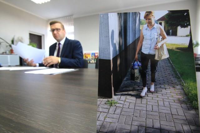 Wójt Gminy Mniów dostał od pracowników szkoły w Grzymałkowie zdjęcia pani  dyrektor  wynoszącej jedzenie w torbie.