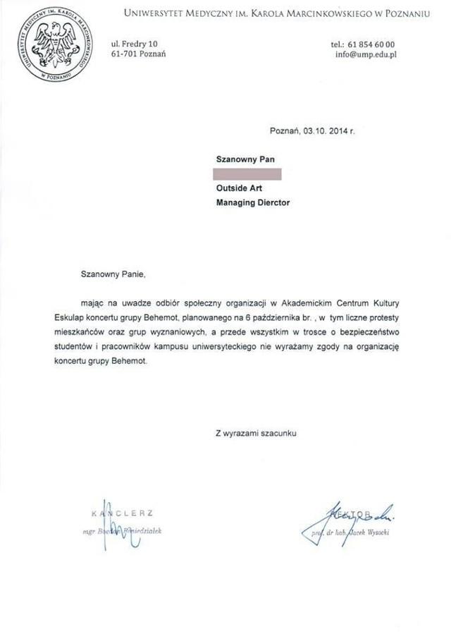 Skan oświadczenia władz Uniwersytetu Medycznego w Poznaniu, odwołującego koncert Behemotha w Eskulapie