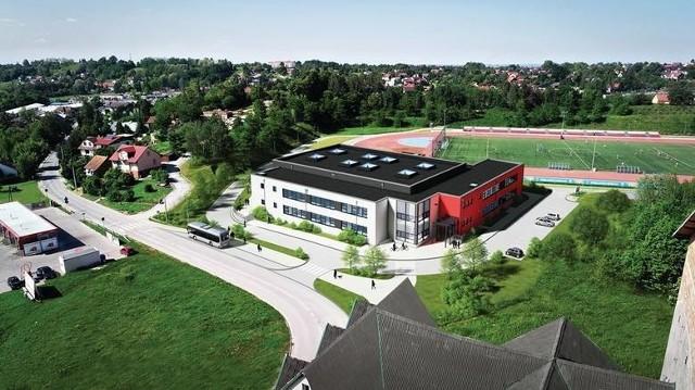 Tak ma wyglądać szkoła budowana przy Arenie Lekkoatletycznej w Wieliczce. Obiekt ma zostać otwarty jesienią br.