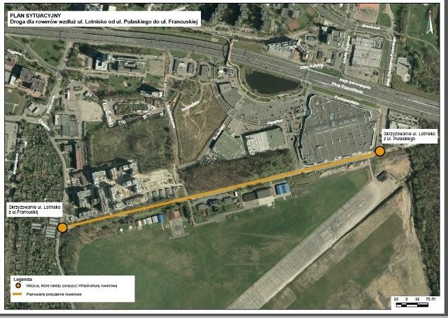 Planowany przebieg nowych dróg rowerowych w Katowicach