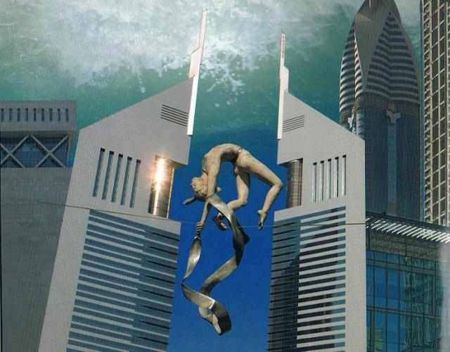 Na zdjęciu fragment katalogu, promujacego wystawę rzeźb Jerzego Kędziory w Dubaju.