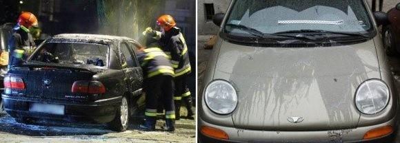 W dniu, kiedy oblano samochód, padał deszcz. To trochę złagodziło działanie substancji, ale i tak karoseria nadaje się tylko do wymiany. Z lewej: strażacy gaszą podpalonego opla.