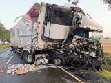 Wypadek w Gnojewie w gm. Miłoradz! 21.07.2021 r. Jedna osoba ranna w zderzeniu dwóch ciężarówek na dk 22. Jedną z nich przewożono indyki