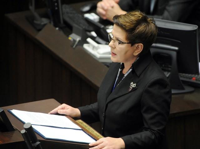 Premier Beata Szydło w trakcie expose