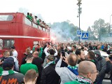 Wielka feta piłkarzy i kibiców Radomiaka Radom po awansie drużyny do ekstraklasy piłkarskiej