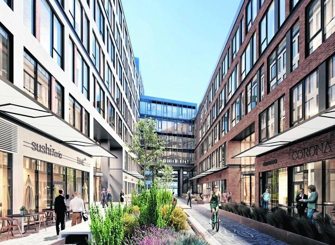 Pomiędzy budynkami wzniesionymi przez Ghelamco mają być pasaże piesze i rowerowe, a w parterach usługi i gastronomia