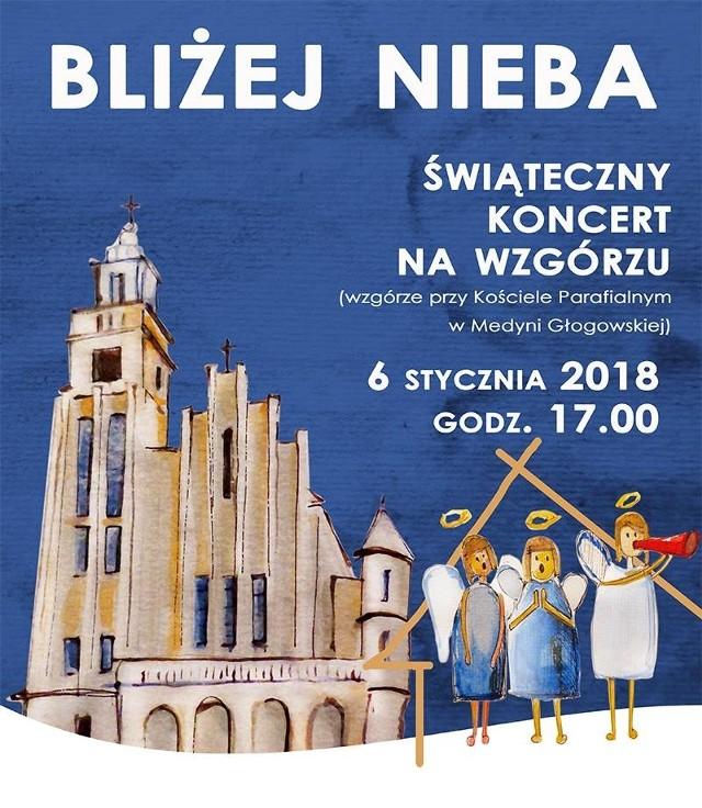 Koncert odbędzie się 6 stycznia, w sobotę u stóp Kościoła Parafialnego w Medyni Głogowskiej