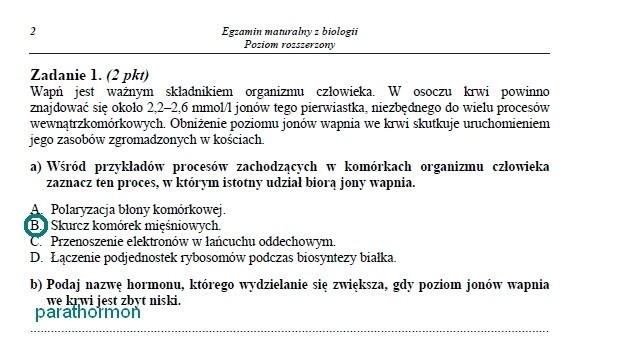 MATURA 2014 - BIOLOGIA (P. ROZSZERZONY) - ARKUSZ CKE, ZADANIA, ODPOWIEDZI