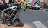 Wypadek w Świebodzinie. Motocyklista uderzył w samochód. Ranny został odwieziony pogotowiem lotniczym do Zielonej Góry