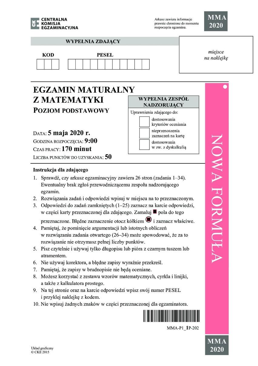 Zobacz zadania i odpowiedzi do arkusza z matury 2020 z...