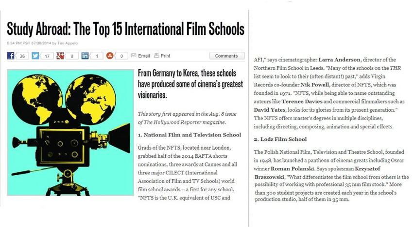 """Łódzka Szkoła Filmowa druga na świecie w rankingu """"The Hollywood Reporter"""""""