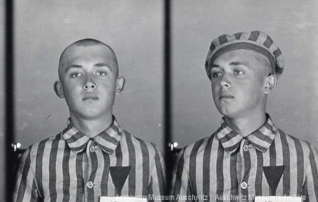 To zdjęcie Edwarda Ciesielskiego wykonało obozowe gestapo w Oświęcimiu. Jako więzień miał numer 12969.