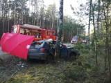 Śmiertelny wypadek w Zimnych Zdrojach! 5.05.2021 r. Samochód osobowy uderzył w drzewo. Nie żyje pasażer, kierowca trafił do szpitala