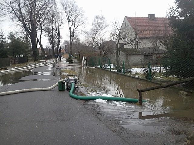 Zagrożonych było 12 posesji. Woda wdarła się na podwórka 7 gospodarstw, podtopiła również kilka piwnic.