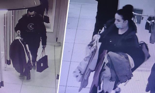 """Policjanci proszą o wsparcie w identyfikacji dwóch osób, które robiły """"zakupy"""" w jednej z inowrocławskich galerii."""