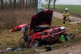 Wypadek śmiertelny na DK 65 na trasie Knyszyn - Białystok. Skoda zderzyła się z BMW. Dwie osoby zginęły. Droga była zablokowana [ZDJĘCIA]