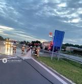 A4. Pożar samochodu dostawczego przed bramkami w Balicach. Autostrada w stronę Krakowa była zablokowana