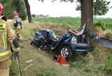 Wypadek na trasie Grodzisk - Wielichowo. W Młyniewie auto wypadło z drogi i uderzyło w drzewo