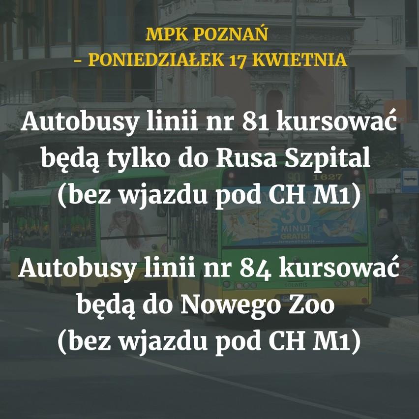 W poniedziałek, 17 kwietnia, autobusy i tramwaje MPK Poznań...