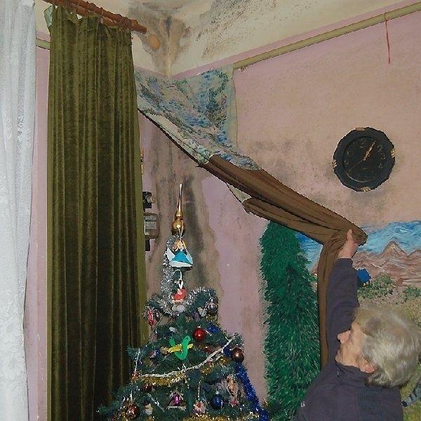 Ściany w mieszkaniach na parterze z powodu  wilgoci opanował grzyb. Tak mieszkają  Lewandowscy.