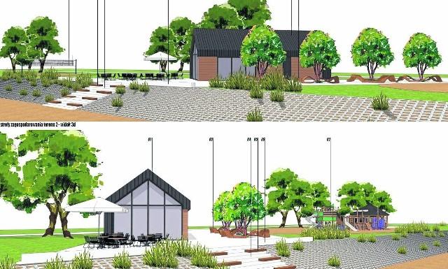 Wizualizacja zagospodarowania terenów przy ulicy Plażowej i Żeglarskiej nad Jeziorem Tarnobrzeskim. Staną tu między innymi  toalety, place zabaw, altany