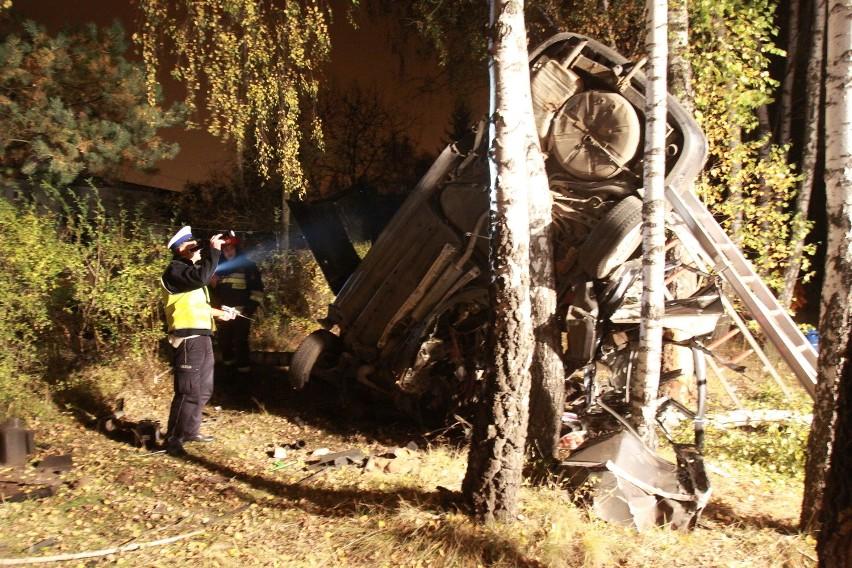 Wypadek na Dennej w Łodzi. Kierowca rozbił się na drzewie [ZDJĘCIA]