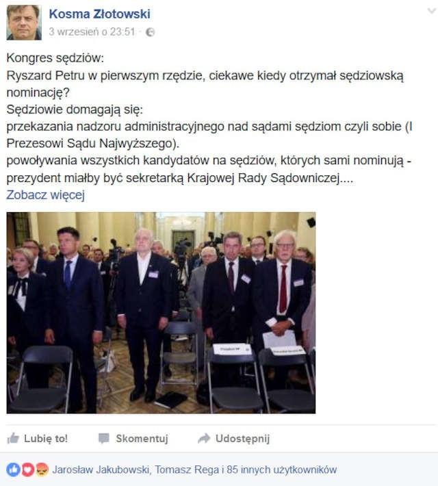 Na swoim profilu na portalu społecznościowym europoseł Kosma Złotowski ostro wypowiedział się na temat sędziów, z którymi miał kontakt