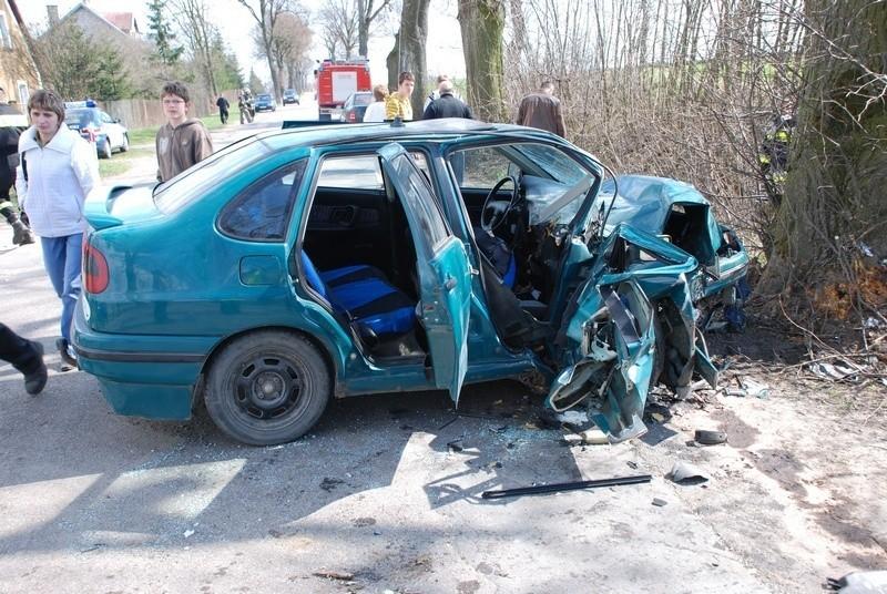 Wypadek koło Skórcza.