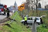 Wypadek na na drodze krajowej nr 91 w powiecie tczewskim. Kierowca bez prawa jazdy, 10 osób w samochodzie [zdjęcia]