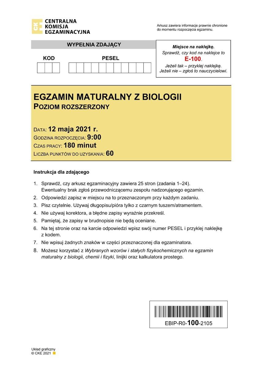 Matura z biologii na poziomie rozszerzonym odbędzie się 12...