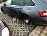Plaga kradzieży kół samochodowych w Łodzi. Złodzieje zostawiają auta na cegłach...