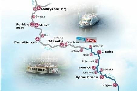 """Sam rejs Odrą dostarcza niezwykłych wrażeń. Jednak warto też zejść z pokładu """"Zefira"""" lub """"Laguny"""" i sprawdzić, co dzieje się na brzegu. Zapraszamy na przegląd 18 miejsc, do których dopływają lubuskie statki. ZOBACZ WIDOK MIĘDZYRZECZA Z DRONA"""