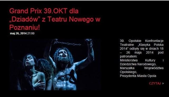 """Opolskie Konfrontacje Teatralne: """"Dziady"""" Teatru Nowego zdobyły Grand Prix!"""