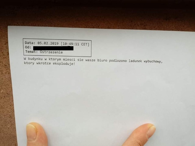Treść maila, który przyszedł na adres biura poselskiego