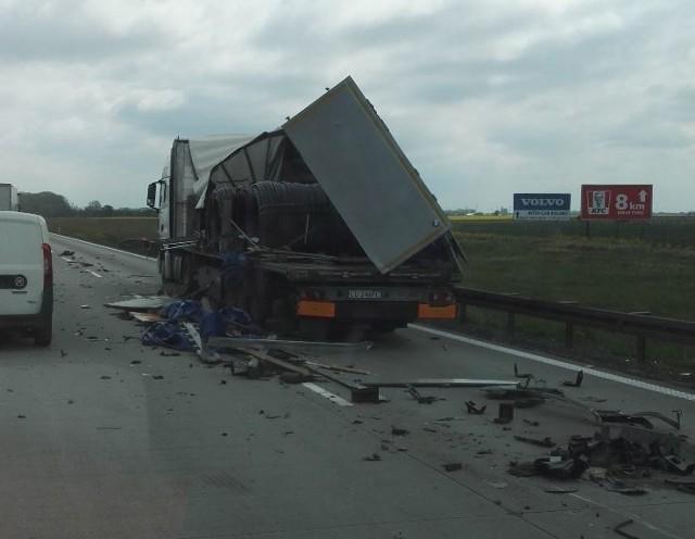 Zderzenie ciężarówek na A4 pod Wrocławiem