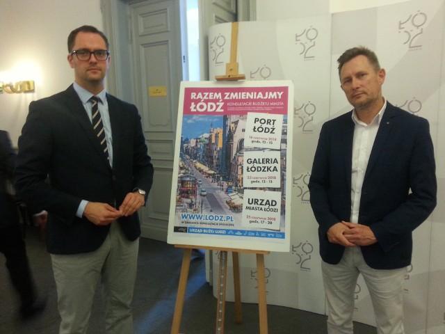 Dyrektor Biura ds. Partycypacji Społecznej Grzegorz Justyński (z lewej) i radny Paweł Bliźniuk zapraszają na cykl spotkań dotyczących konsultacji społecznych budżetu Łodzi na 2019 rok.