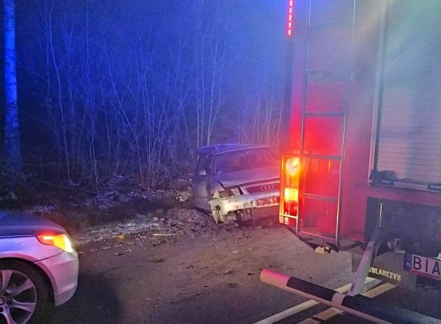 Wypadek audi na trasie Michałowo - Żednia