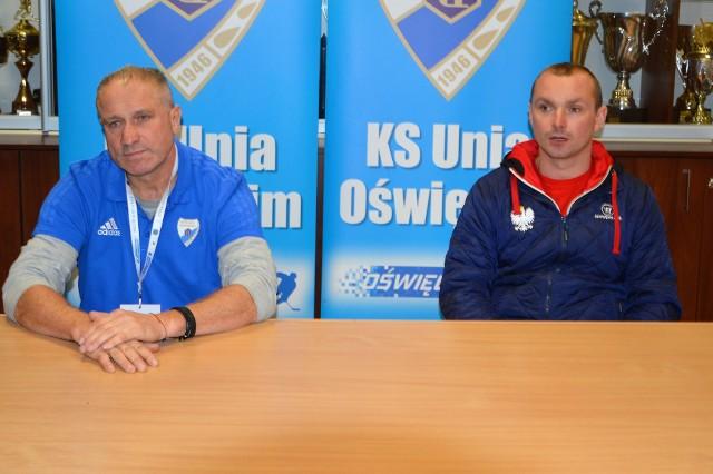 Jirzi Szejba (z lewej) trener Unii Oświęcim i Grzegorz Klich, opiekun Kadry PZHL U23